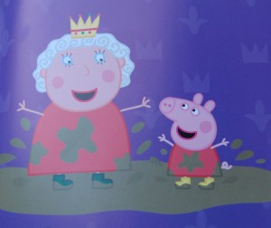 The Queen and Peppa splashing in muddy puddles