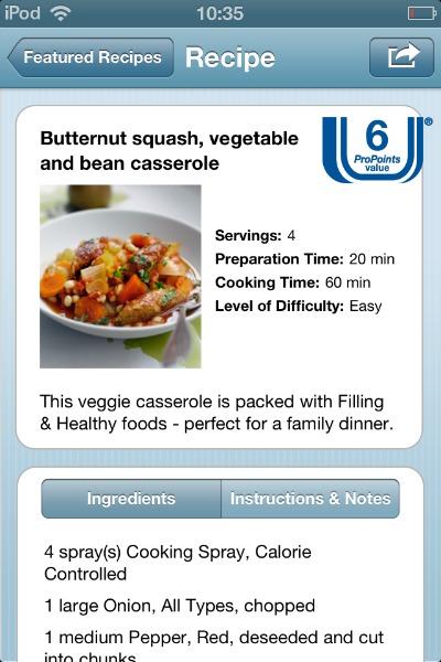 WeightWatchers app recipe