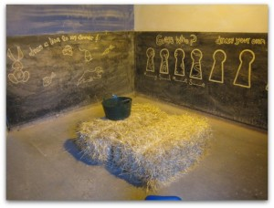 Battersea Park Children's Zoo chalkboard barn area