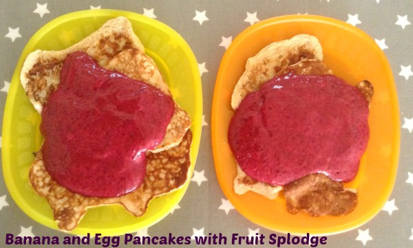 banana and egg pancakes and fruit splodge