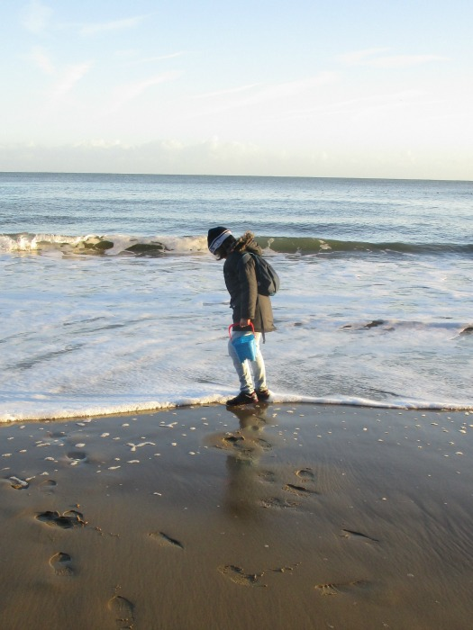 Paddling in shoes at Sunny Sands