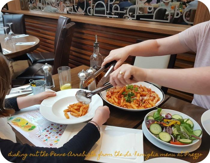 La Famiglia menu pasta dishing out