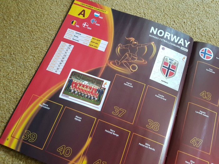 UEFA Womens Euro 2017 Panini Sticker Book Norway team and badge