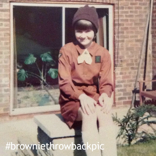 1970s Brownie me, these days I'm volunteering with Girlguiding. This was a throwback picture for the Lottie Brownie Pack in 2017.