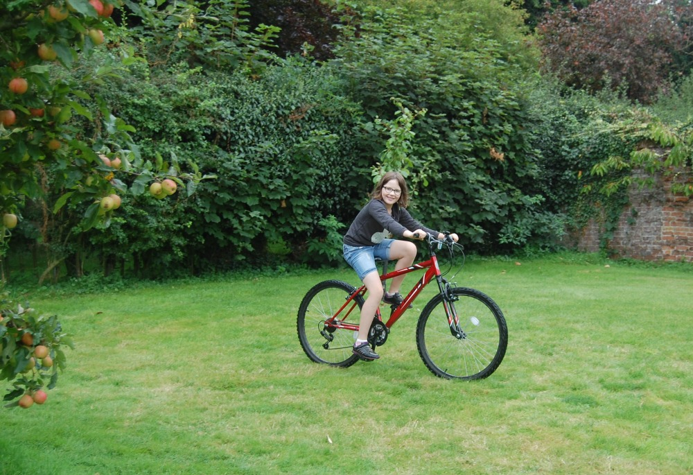 bike riding Woodpecker Yurt, Essex