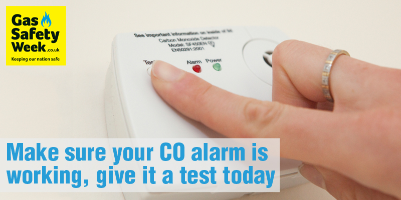 Tip 5 - Test your CO alarm Gas Safety Week 2017