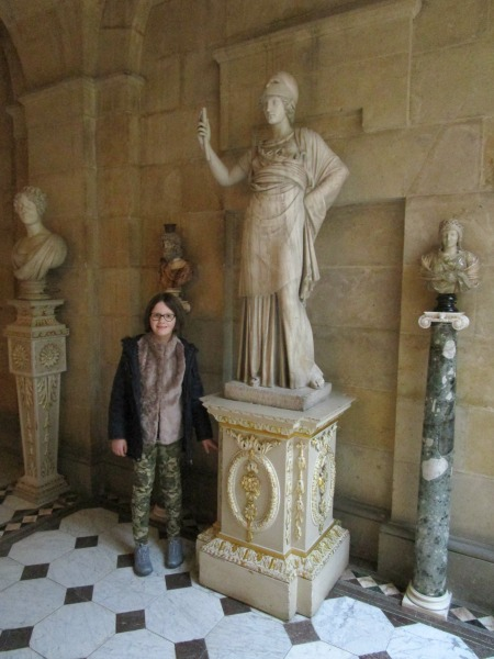 H and the Minerva statue inside Castle Howard