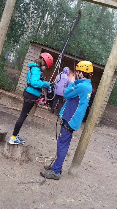learning how to use the zipwire at PGL Marchants Hill