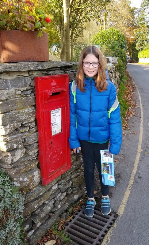 Beatrix Potter and the Lake District - red post box by Hill Top